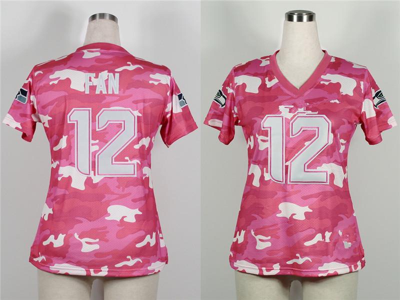 Free Shoping Women's Fashion Jersey-New Pink Camo Seattle 12# fan 24# Lynch, Marshawn Football american jerseys(China (Mainland))