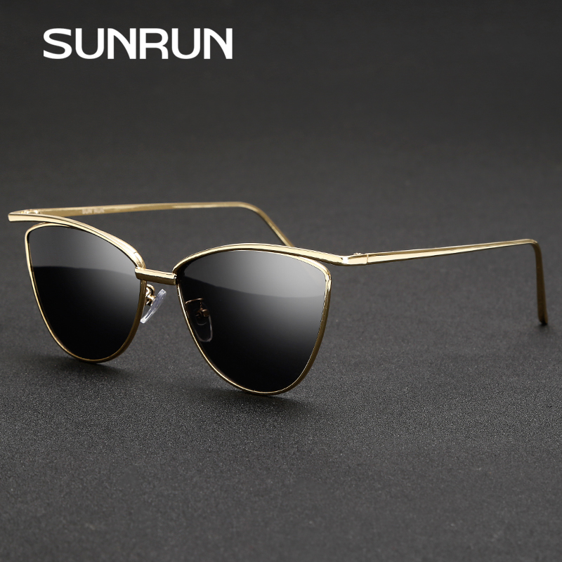 SUNRUN New Fashion Cat Eye Women Sunglasses Brand Designer Glasses Women Vintage Sun glasses Mirror oculos gafas de sol 9068(China (Mainland))
