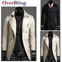 Fashion Winter 2015 gothic Silm Fit Polyester Button Casual Or Formal Long Coats Trench Mens Clothing Outwear(China (Mainland))