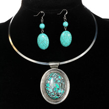 European Style Round Nature Turquoise Stone Stainless Steel/Tibetan Silver Chocker Necklace And Earrings Costume Jewelry Set(China (Mainland))