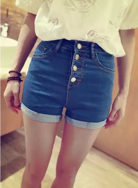 2015 new Fashion spring buttons high waist shorts vintage slim buckle roll-up hem denim shorts(China (Mainland))