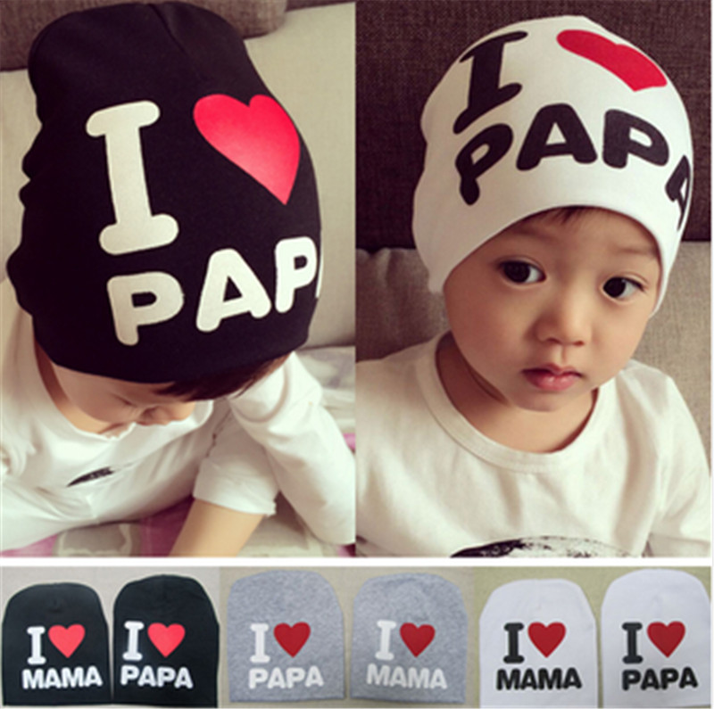 2015 fashion Crochet cotton baby girls autumn warm children hats caps pentagram love papa love mama / baby(China (Mainland))