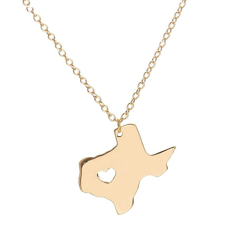 Wholesale 10Pcs 2016 A Heart In Texas State USA Map Pendants Summer Necklaces Mix Color Lots Charm Women Men Jewelry(China (Mainland))