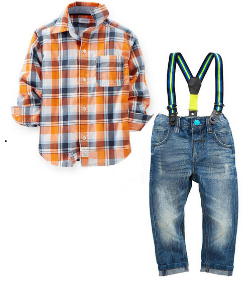 JT-161 Retail baby boy clothing sets 3 pieces boy suit set cotton long sleeve plaid shirt + jeans + belt kids set free shipping(China (Mainland))