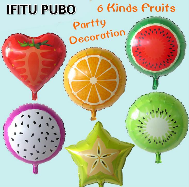 6Pcs Fruit Balloons Pitaya/Orange/Kiwi/Carambola/Watermelon/Strawberry Birthday Party Decoration Balloon for kid toys GYH(China (Mainland))
