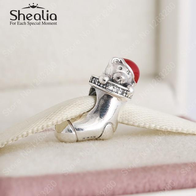 2015 зима 925 стерлингового серебра красной эмалью плюшевый мишка рождественские чулки подвески европейский ювелирных украшений для женщин браслеты DIY