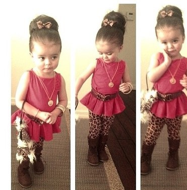 2014 New baby girl summer suit cotton rose red vest tops + leopard trousers 2pcs set kids girls clothing set 7set/lot <br><br>Aliexpress