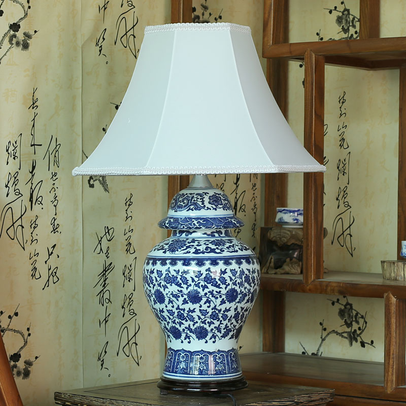 Jingdezhen ceramic table lamp ofhead chinese style lamps celadon quality home gifts<br><br>Aliexpress