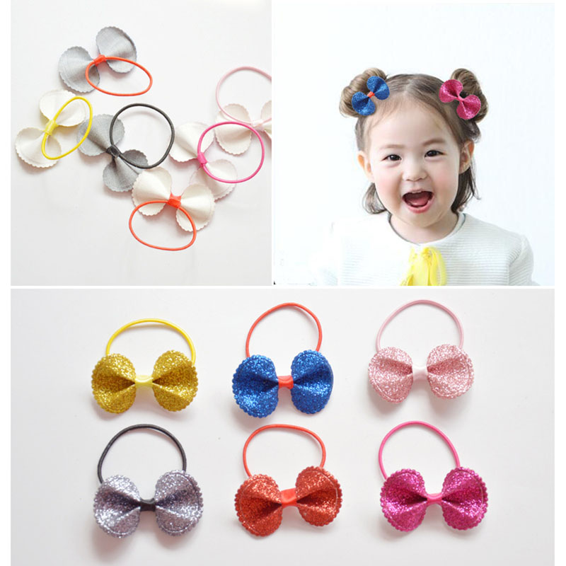 2016 New Korean Bling Shiny Leather Bowknot Baby Elastic Hair Bands Ponytail Holder Rope Headbands Kids Girls Hair Accessories(China (Mainland))