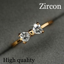 Austria Crystal CZ Diamond rings Gold Plated finger Bow ring wedding engagement Zircon Crystal Rings women jewelry wholesale(China (Mainland))