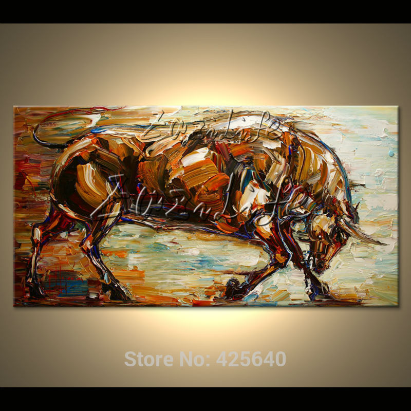 Canvas abstract painting animals bull hand-painted quadros pop art paintings cuadros modern wall pictures for living room(China (Mainland))