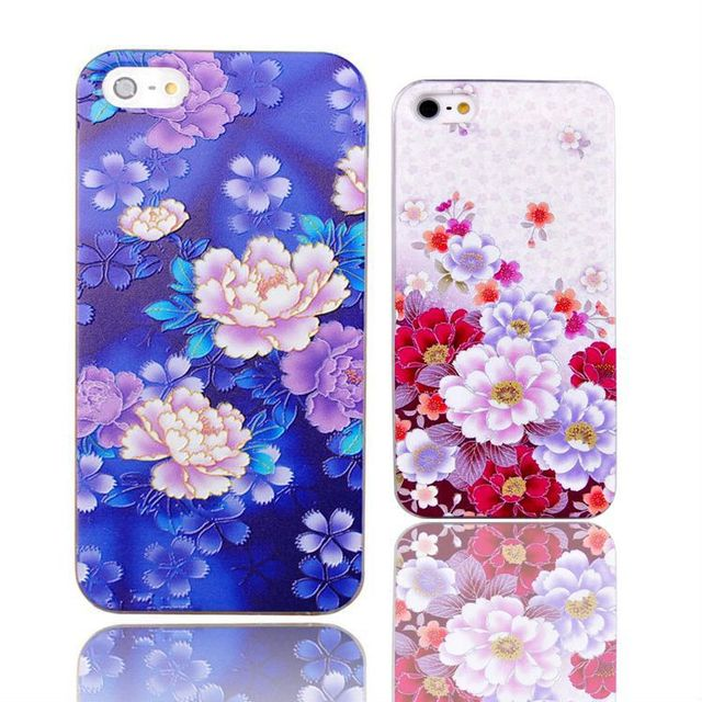 Classical Hard Plastic Embossment Case for iPhone 5 5s Beautiful Lotus Sexy Girl Relief Phone Cases Cover for iPhone SE Coque