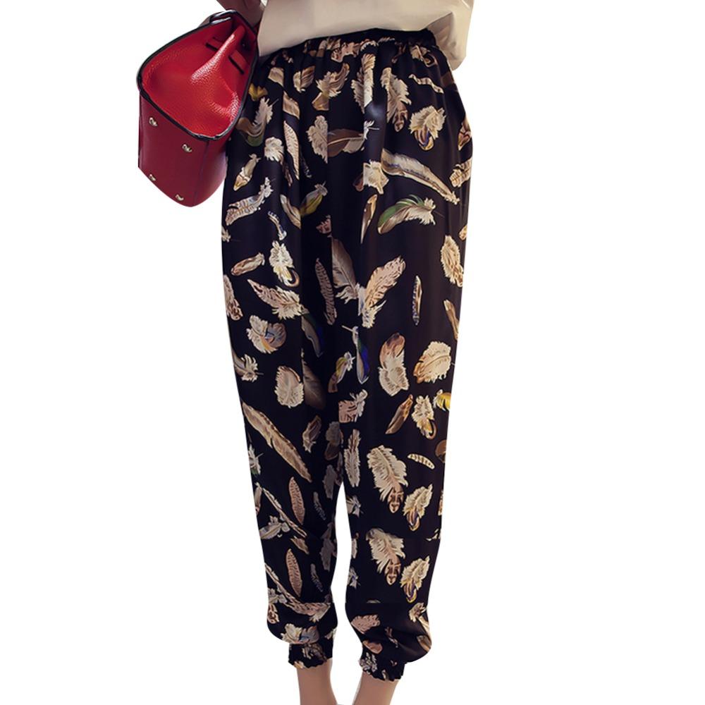 2016 Spring Summer Harem Pants Flowers Striped Dot Cartoon Pattern Pants Ankle-Length Casual Thin Loose Chiffon Fashion Style(China (Mainland))