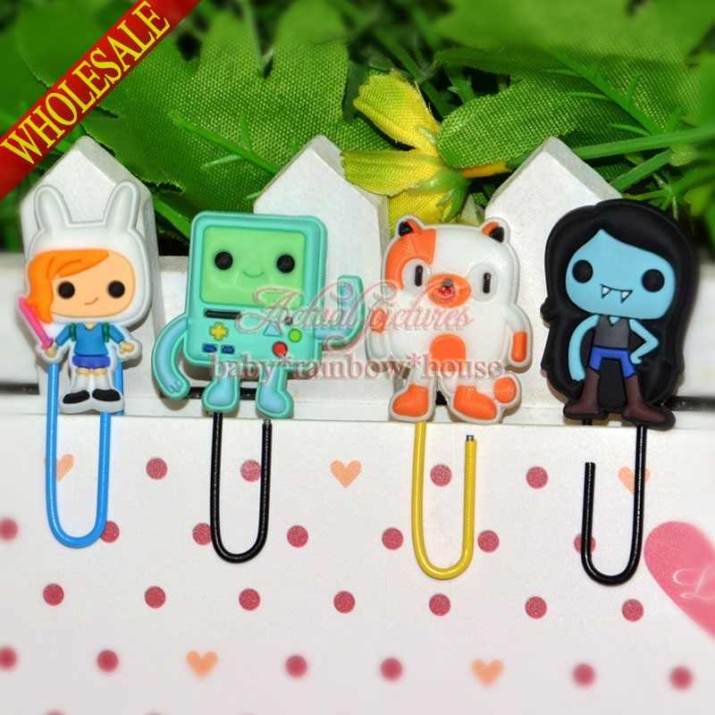 80pcs Adventure Time Aciton Figures PVC Bookmark Cartoon Paper clips School/Office Supplies Stationery Kid party Gift(China (Mainland))