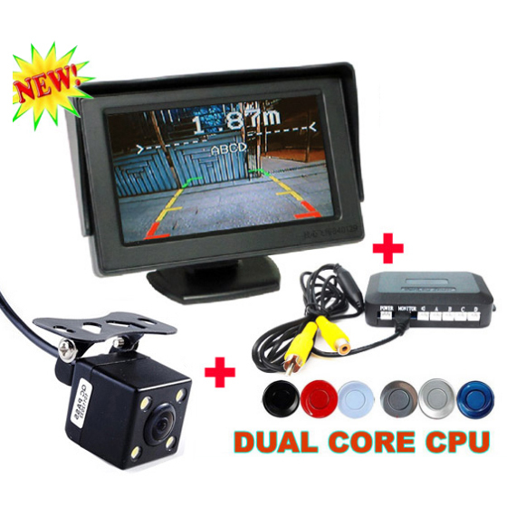 New 3 in1 Dual Core Car Parking Monitor Reverse Sensor Backup Radar + CCD Rear View Camera + 4.3 inch LCD Car Parking Monitor(China (Mainland))
