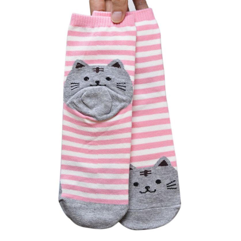 Essential 2016 New Fshion 3D Animals Striped Cartoon Socks Women Cat Footprints Cotton Socks Floor Free Shipping Apr27(China (Mainland))