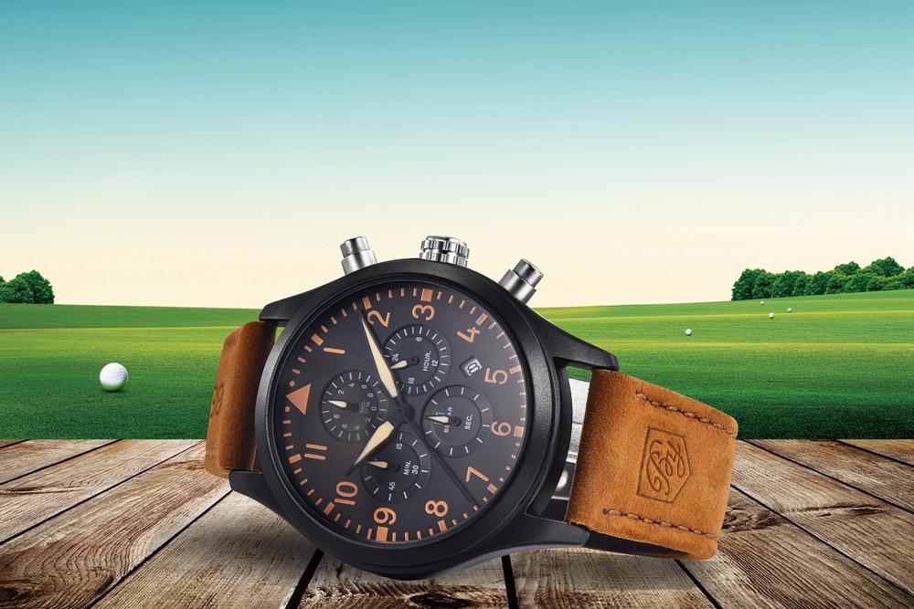 Хронограф Часы мужские Лучший Бренд Класса Люкс Кожаный Спортивные Часы Мужчины Водонепроницаемый Кварцевые Военные Наручные Часы Мужской Часы reloj