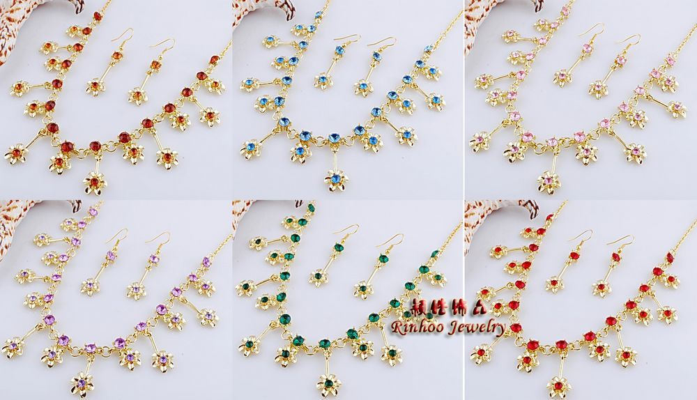 Colorful flower necklace sets fashion necklaces earring sets rhinestone crystal jewelry set lady wedding party costume jewelry(China (Mainland))