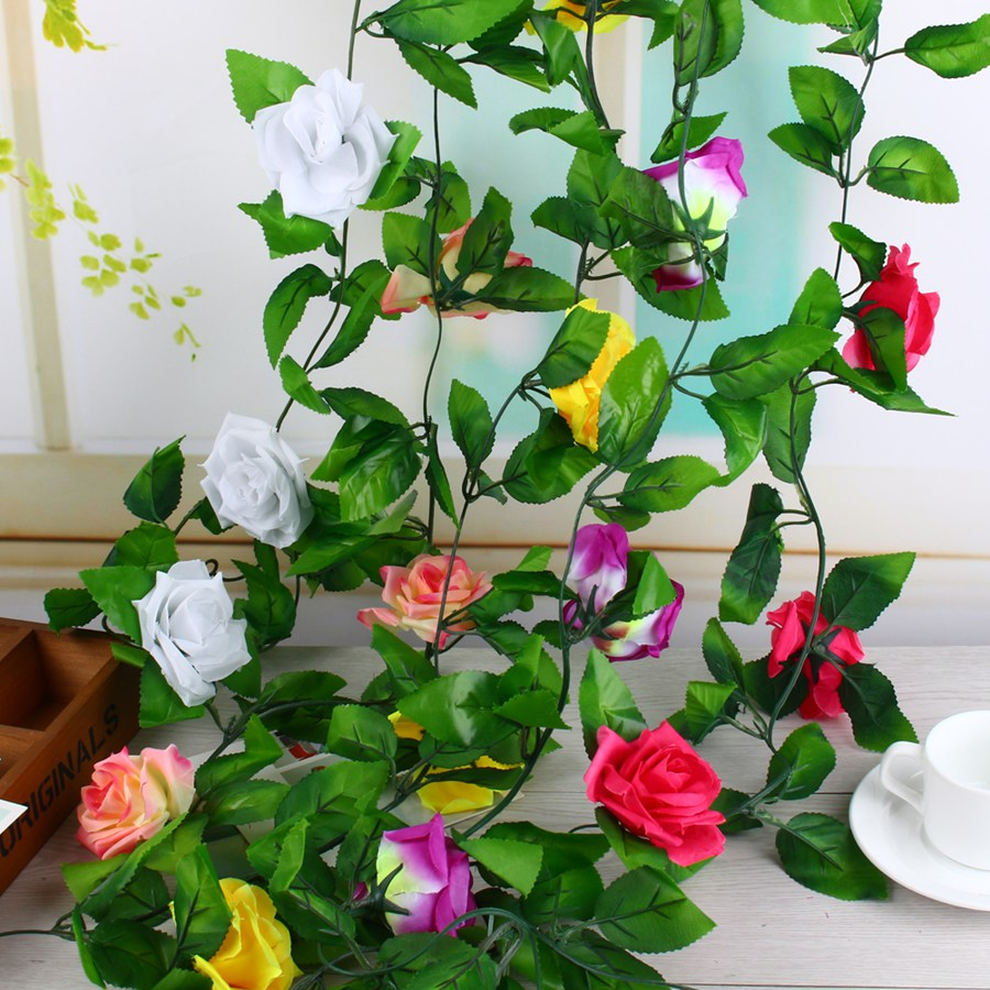 Silk Roses Flowers Ivy Vine with Plastic Green Leaves Decoration Artificial Flower for Wedding Home Decor Hanging(China (Mainland))