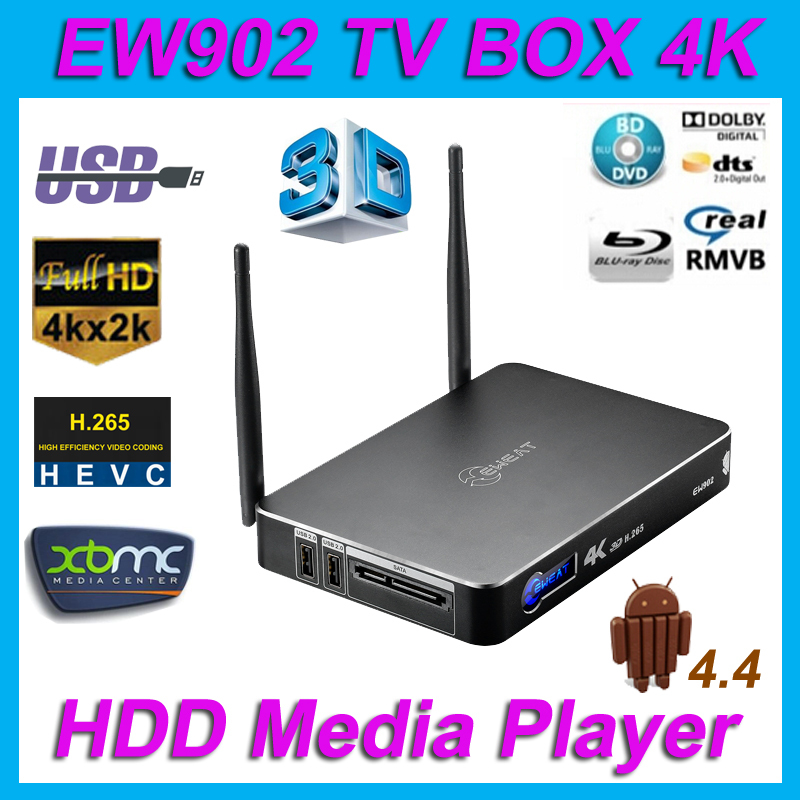 Eweat EW902 Android4.4 tv box Realtek RTD1195 4K HDD Media Player 1G/8G HDMI IN & OUT USB3.0 gigabit Ethernet H.265 3D BDMV/ISO(China (Mainland))