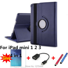 360 Degree Rotating PU Leather Case Cover for apple Ipad mini 1 2 3 with Retina Smart Stand Magnetic Cover,film and pen+OTG