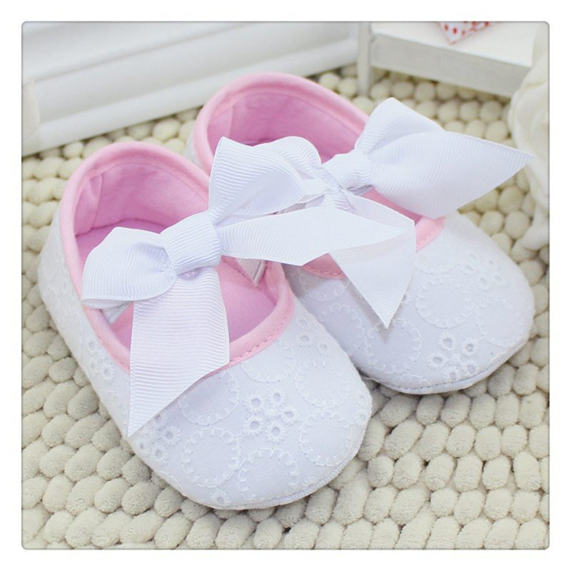 New 2016 Cute Pink Ribbon Princess Lace Baby Shoes Lovely Big Bow Shallow Newborn Girl First Walkers Anti-skid Shoes(China (Mainland))