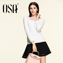 OSA 2015 Spring New Women Beading O-neck Pullover Embroidery Hollow Casual Lace Sweater Female Solid Color SH538002(China (Mainland))