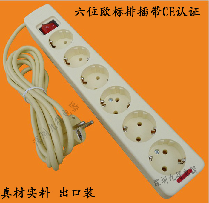High Quality Convenient 6 Outlet Power 250V 16A 3m Extension Socket Cable Wall Mains Lead Plug Strip Adapter EU Plug with switch(China (Mainland))