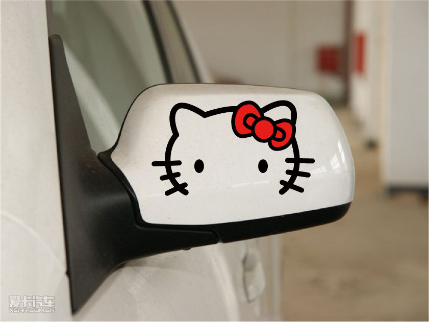 hello kitty car decal reflective tape funny stickers for car rearview mirror car body and so on(China (Mainland))