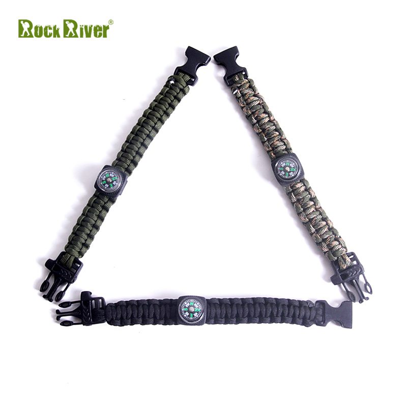 New fashion 550 paracord buckle with whistle compass camping survival bracelet 7 strand rope(China (Mainland))