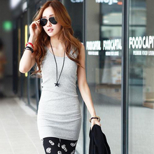 Hot Sale Women Sleeveless Bodycon Cotton Blend Long Tshirt Tank Top Women Vest Free Shipping(China (Mainland))