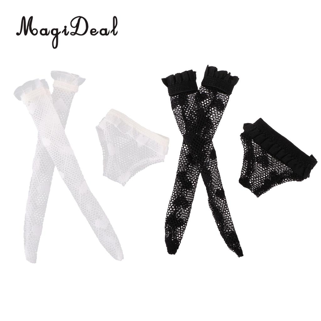 Fashion Doll Lace Underwear & Stockings Set for Blythe Doll Dress Up Accessory Girl Gifts Black & White