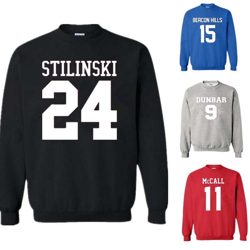 men women teen wolf sweatshirt stilinski 24 mccall 11 teen. Black Bedroom Furniture Sets. Home Design Ideas