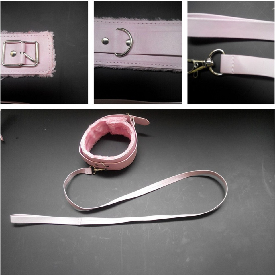 2015 New Hot Sale Sex Product PU Leather With Plush Sex Pink Collar And Leash Sex Toys For Couples Fetish HSEX086(China (Mainland))