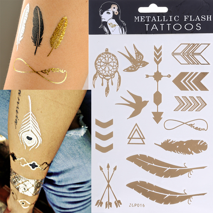 2015 New Design Tattoo Bracelets Necklaces Gold Temporary Tattoos Sticker Sex Product Metallic tatoos Anchor Leaf Infinity(China (Mainland))