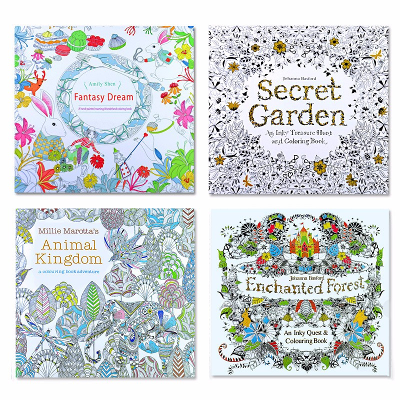 4 pcs 24 Pages Animal Kingdom English Edition Coloring Book for Children Adult Relieve Stress Kill Time Painting Drawing Books(China (Mainland))