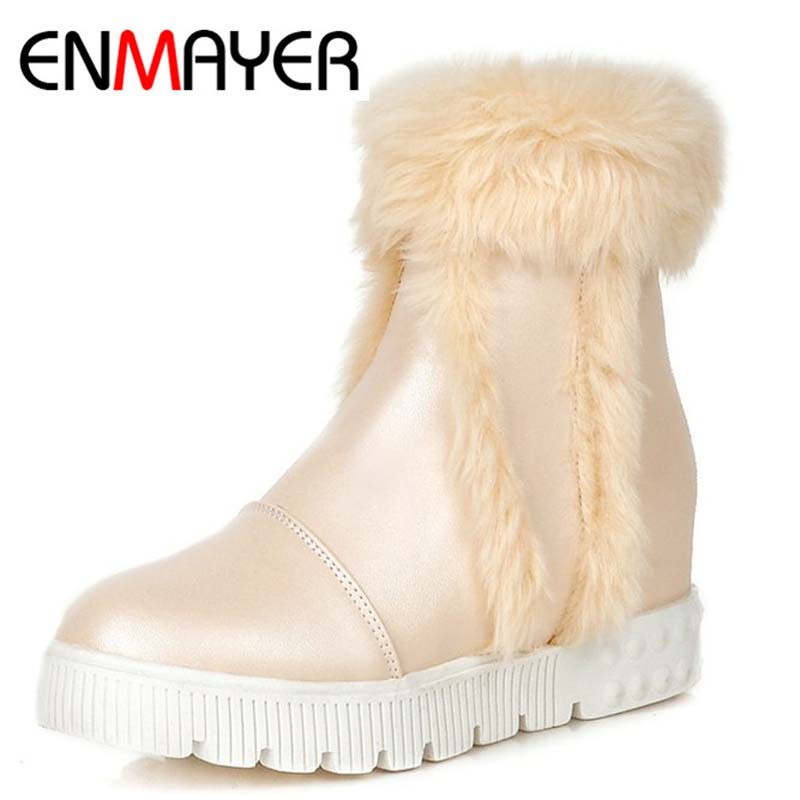 ENMAYER Europe Imported Women Ankle Boots Morden Riding Equestrian Short Shoes Boots Warm Fur Snow Boots Round Toe Punk Style<br><br>Aliexpress