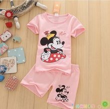 Mickey Minnie Printed 2016 Baby Sets short Sleeve Cotton Toddler Baby Girl Clothes Children Set Tops+Pant Spring(China (Mainland))