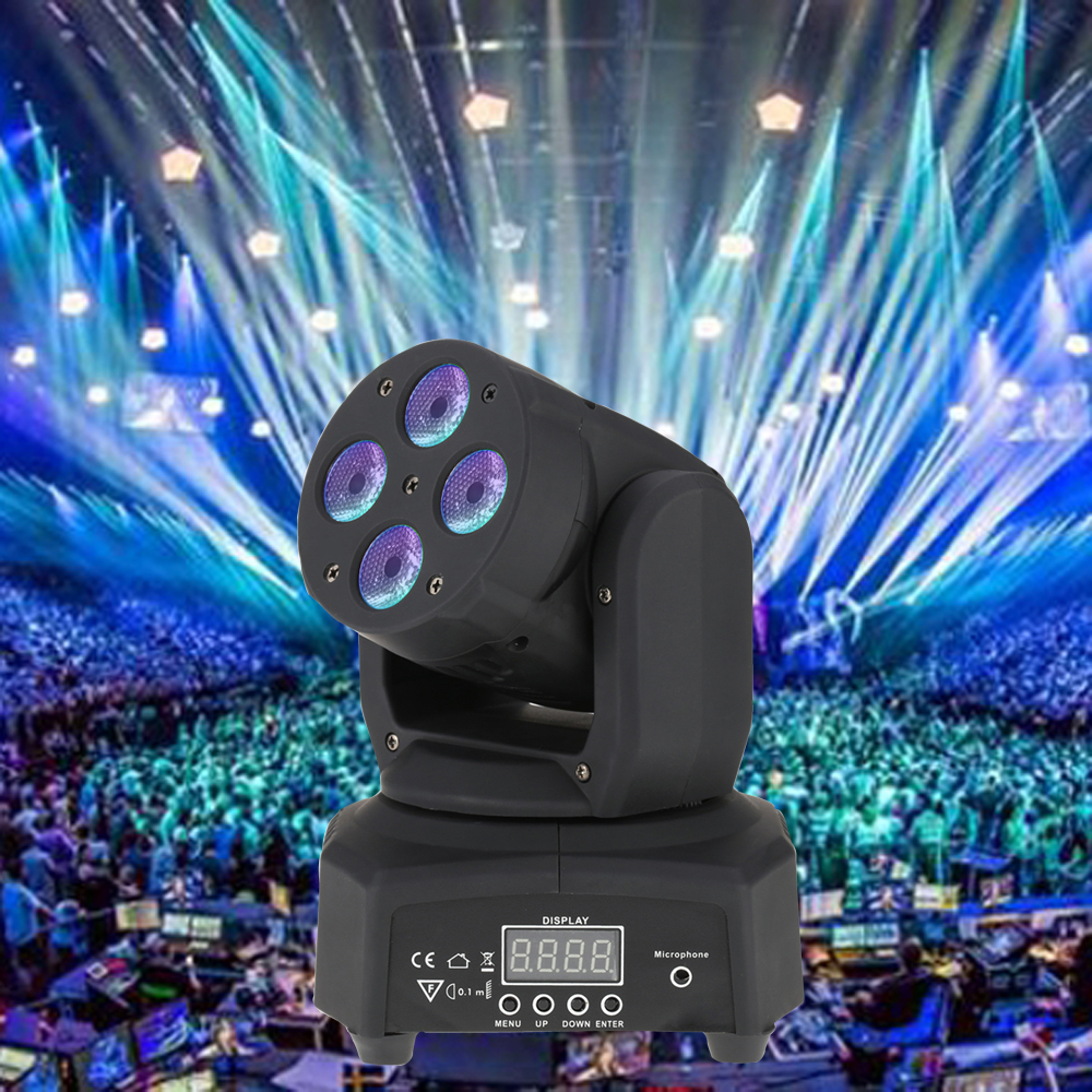 Mini 4 LEDs 50W RGBW Wash Rotating Moving Head Stage Effect Light 9/12 Channel DMX512 Sound-activeated for Indoor Disco(China (Mainland))