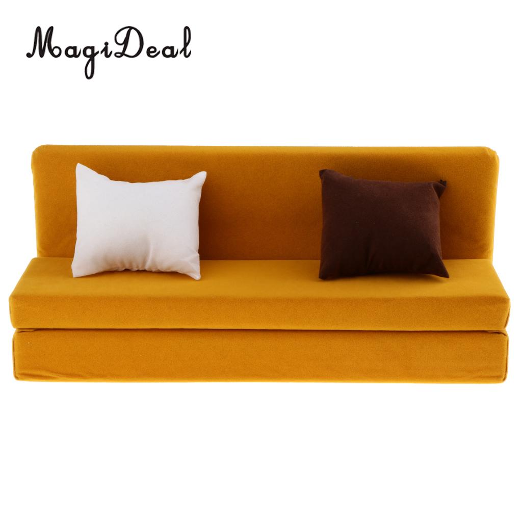 1/6 Long Sofa Couch with Cushions for 12 Inch Action Figure Dolls Dollhouse Living Room Furniture Accessory Decor Toy