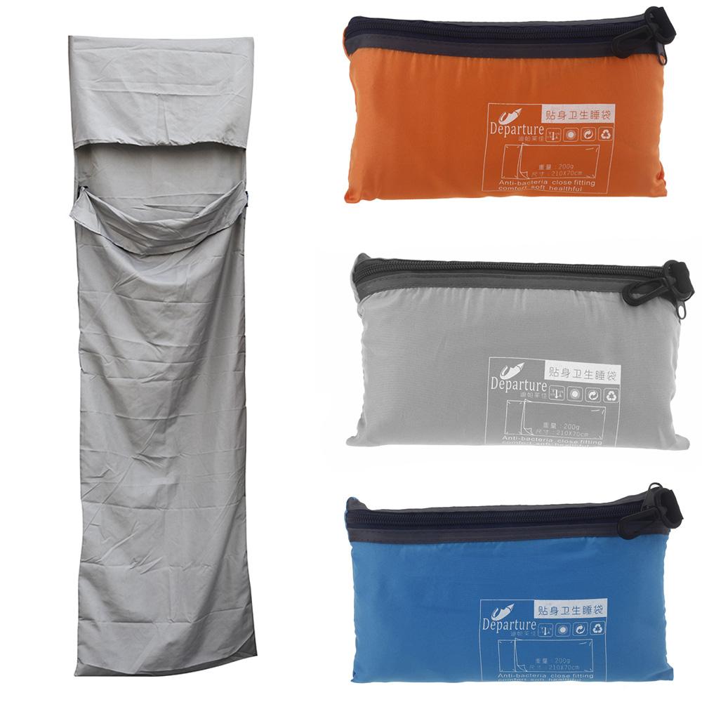 210 * 70cm Ultra-light Portable Single Sleeping Bag Liner Polyester Pongee Healthy Outdoor Camping Travel Blue/Orange/Grey(China (Mainland))