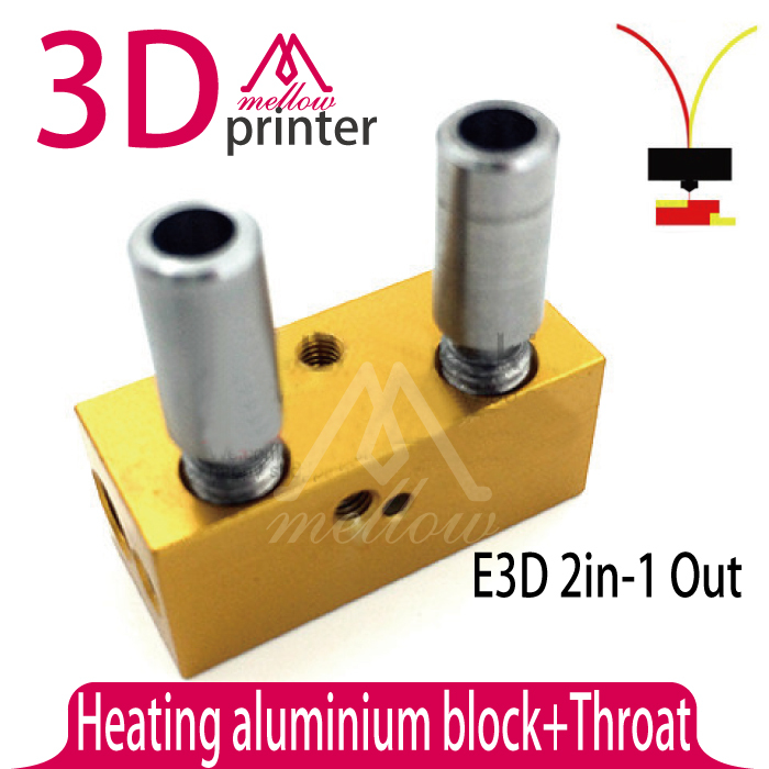 Гаджет  Upgraded For 3D Printer E3D 2 in-1 out Aluminium Heater Block +2pcs Throat 1.75mm Free shipping None Офисные и Школьные принадлежности