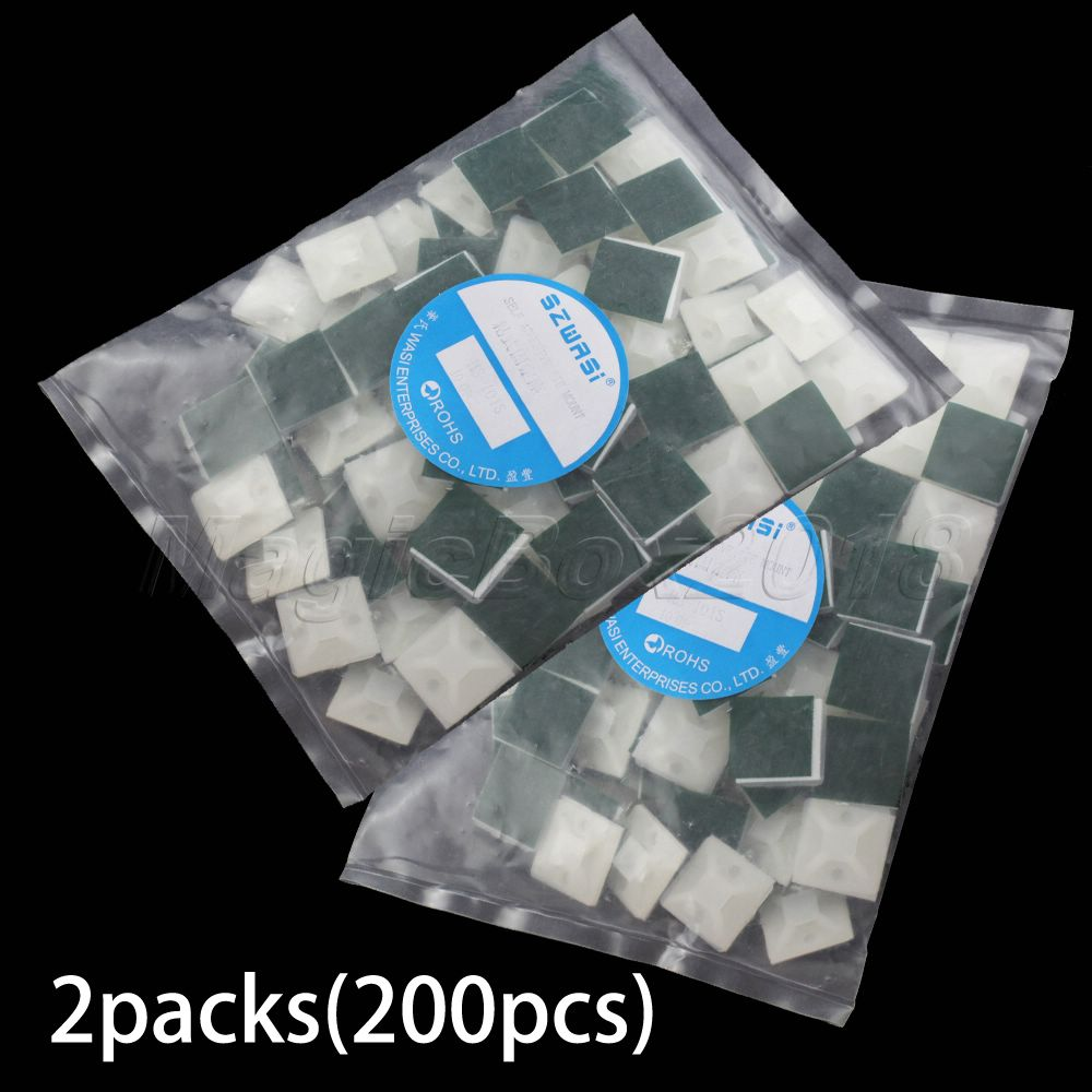 Promotion New White 200PCS 19mm x 19mm Square Cable Tie Natural Self-adhesive Cable Tie Mount Base Wholesale 2Bags/LOT(China (Mainland))