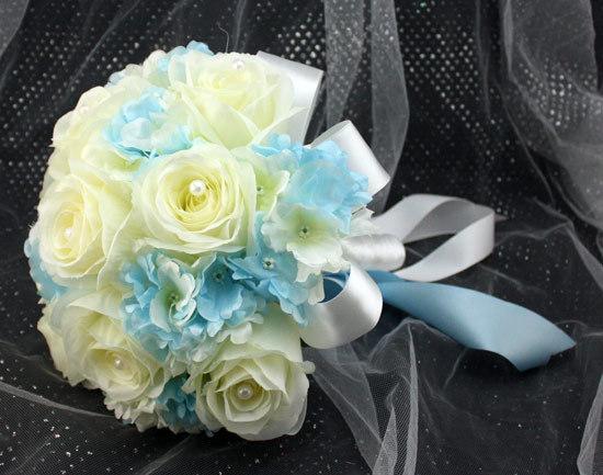 Light Blue And White Flower Arrangements Wedding Bouquet Light Blue