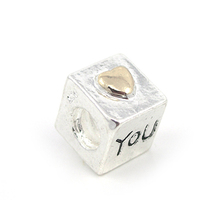 "10Pcs 925 Fashion Bead Charm "" You Heart "" Bead European Bead Silver Bead Fit BIAGI Bracelet H268"