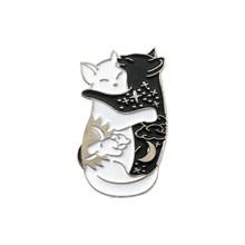 QIHE QH-GIOIELLI Yin Yang Spilli Collezione ~ Yin-Yang Gatto E Yin-Yang Pesce Spille Distintivi e Simboli Dello Smalto Spilli giapponese Dei Pesci Dei Monili(China)
