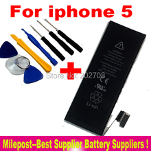 Original 3.8V 1440 mAh Internal Built-in Li-ion Battery for iPhone 5 with 8 PCS Tool Kit for Free Shipping