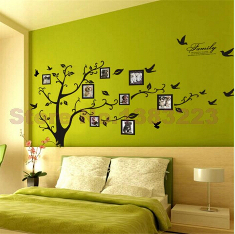 Diy large size black tree photo frame home decor wall - Wall stickers for living room ...