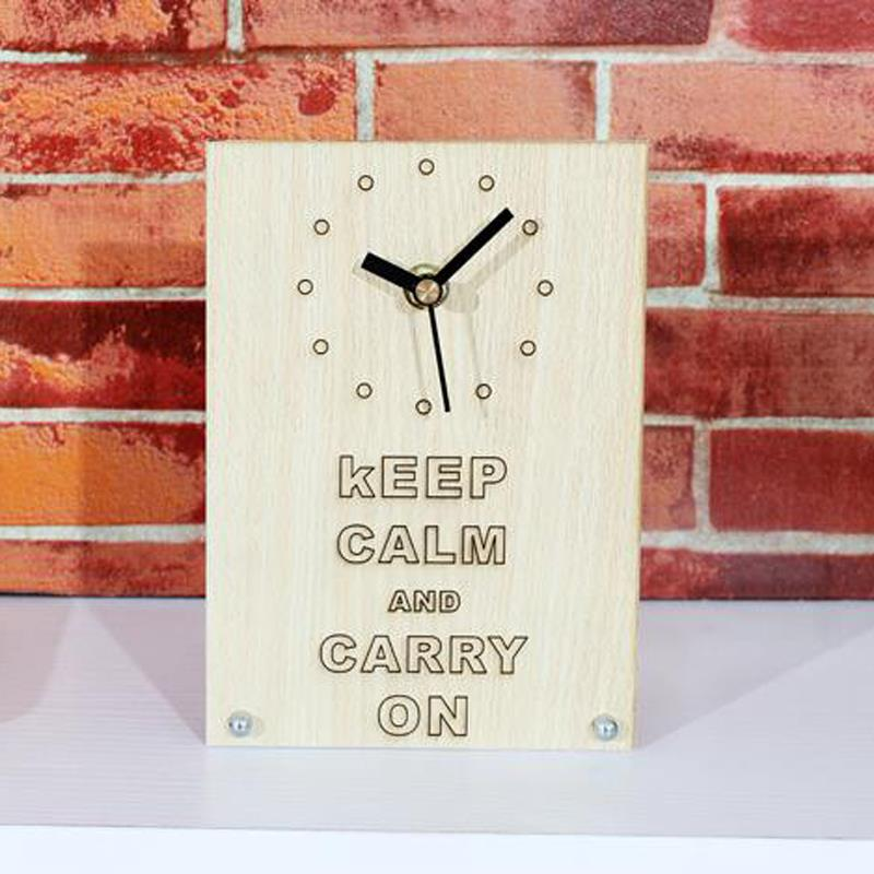 """Modern white Wood Clock Dual """"Keep calm and carry on """"Bamboo Clock vintage alarm clock Clock Show Time(China (Mainland))"""