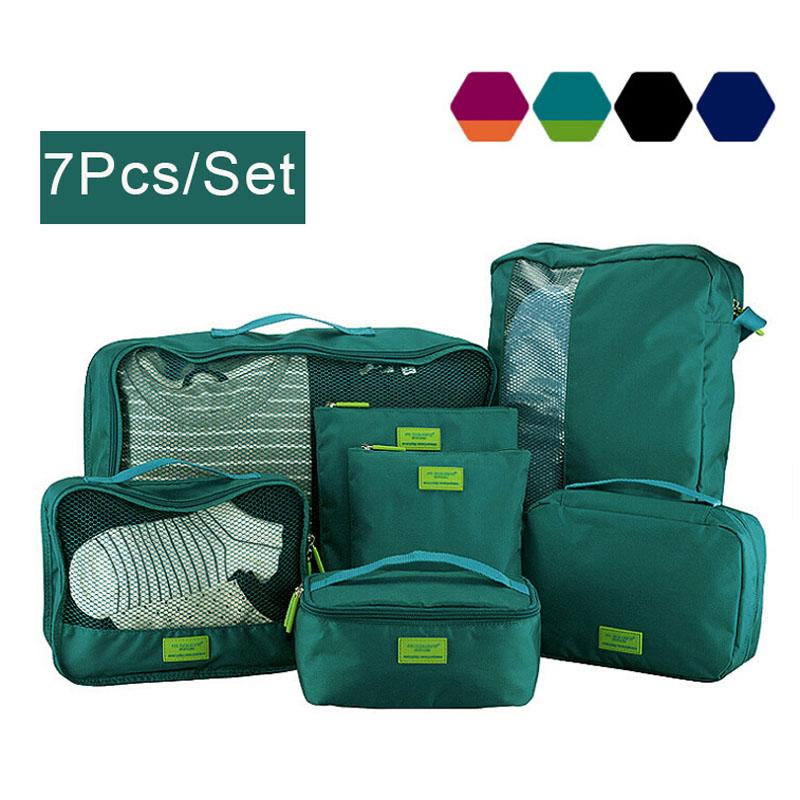 7Pcs/Set Waterproof Nylon Foldable Travel bags,women and mens travel suitcases women luggage travel bag,Travel Goods(China (Mainland))